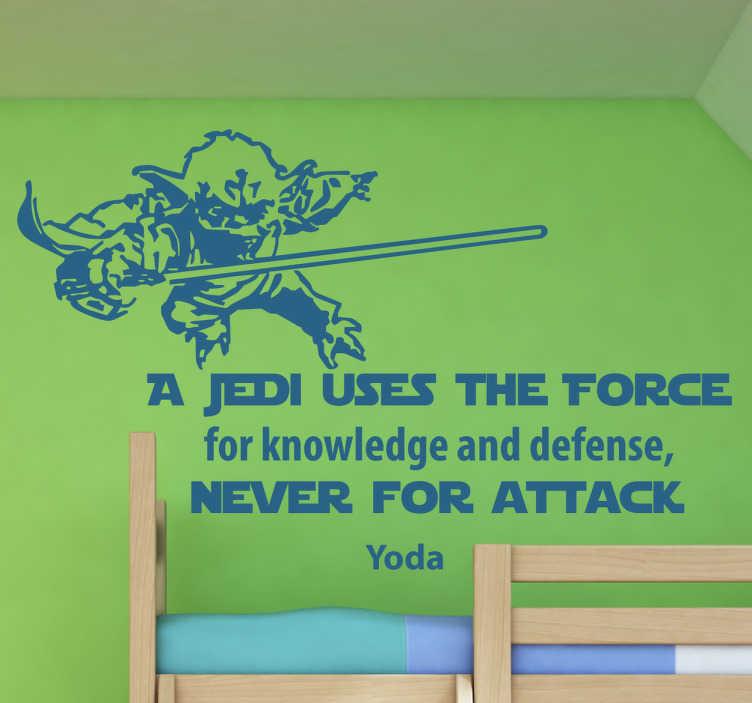 TenVinilo. Vinilo Star Wars frase Yoda. Pegatinas Star Wars para fans de la saga de películas de George Lucas con un dibujo del maestro Yoda y una frase en inglés.