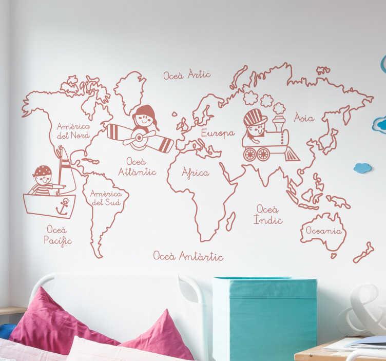 Vinilo infantil mapamundi cataln TenVinilo