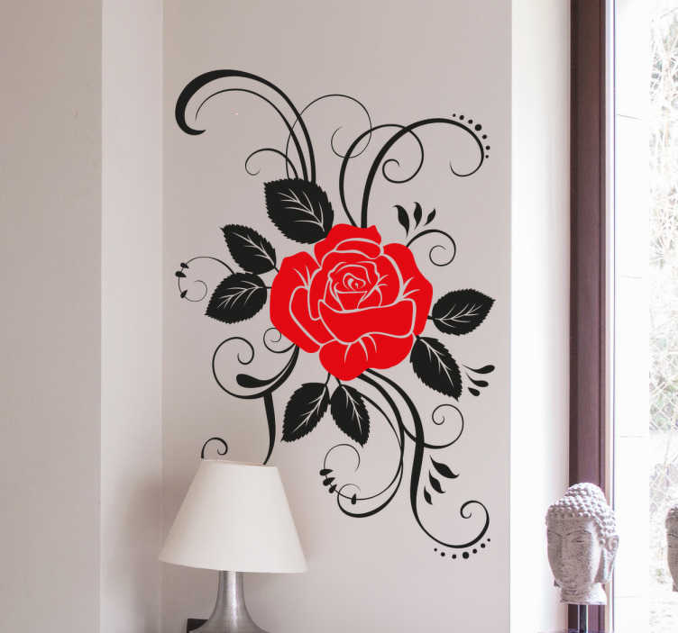 TenStickers. Adesivo de parede rosa elegante. Adesivo de parede ornamental com a representação de uma elegante rosa em duas cores, vermelho e preto.