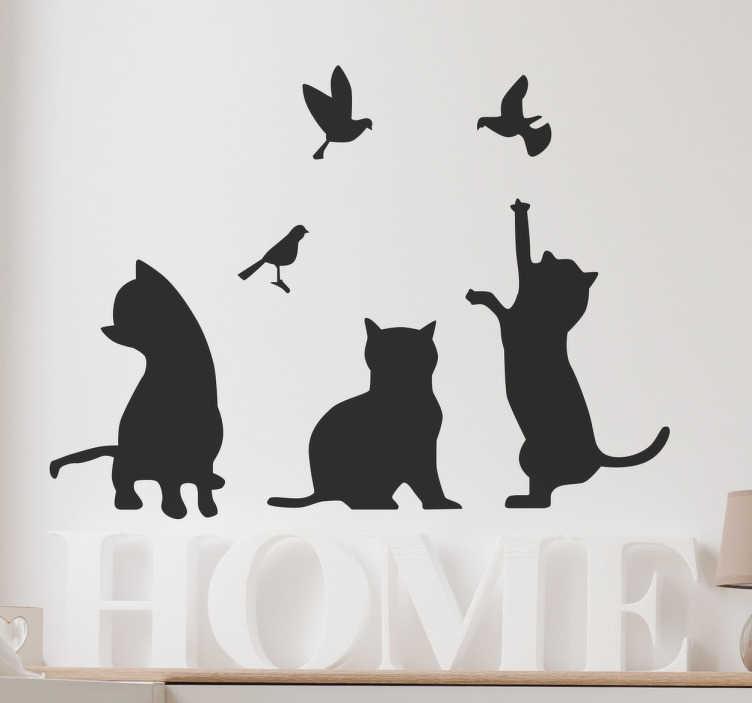 Sticker siluetas gatos y aves tenvinilo for Stickers de pared infantiles