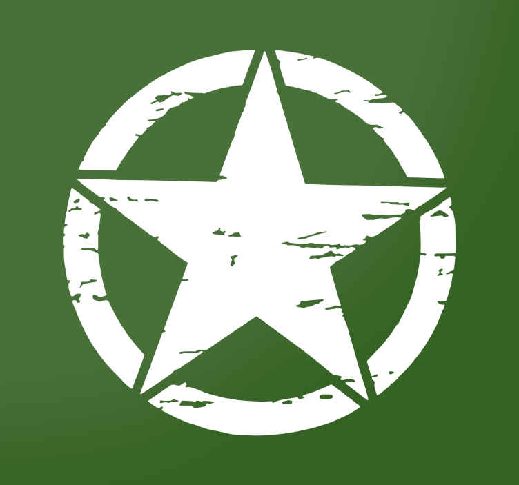 Tenstickers. Militärstjärna klistermärke. Denna militärstjärna är en stor väggdekal för historiens buffs och beundrare av militären.