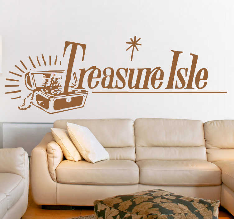 """TenStickers. Treasure Isle Wall Sticker. The wall sticker consists of a treasure chest being burst open due to the overflowing gold coins. Next to the chest is the text """"Treasure Isle"""""""