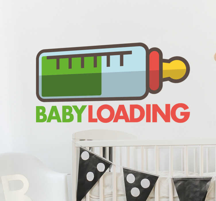 "TenStickers. Baby Loading Wall Sticker. The adhesive film consists of a baby bottle and the phrase ""Baby Loading""."