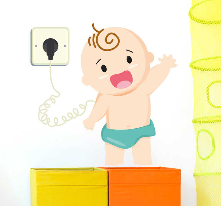 TenStickers. Charging Baby Wall Sticker. The wall sticker consists of a charging baby, standing up and waving towards the audience.