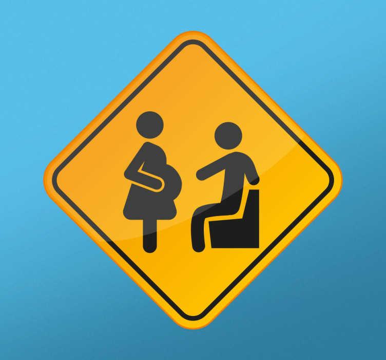 TenStickers. Naklejka Pozwól mi usiąść. Naklejka ścienna prezentująca kobietę w ciąży.Dekoracja przedstawia mężczyznę,który jest gotowy ustąpić miejsca kobiecie w ciąży.