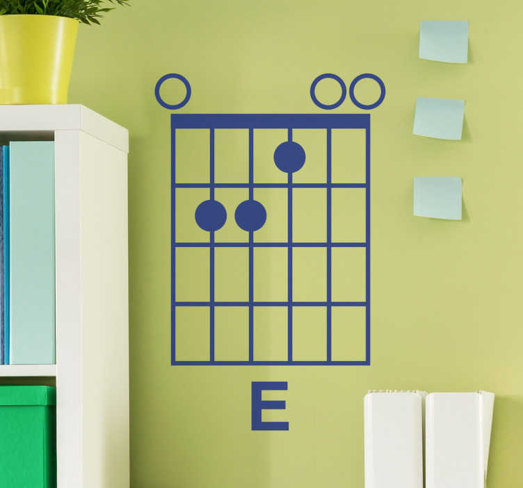 TenStickers. E-Minor Wall Sticker. E minor wall sticker, a beautiful wall decoration for guitarists and musicians. Show everyone you are a musician with this beautiful sticker.