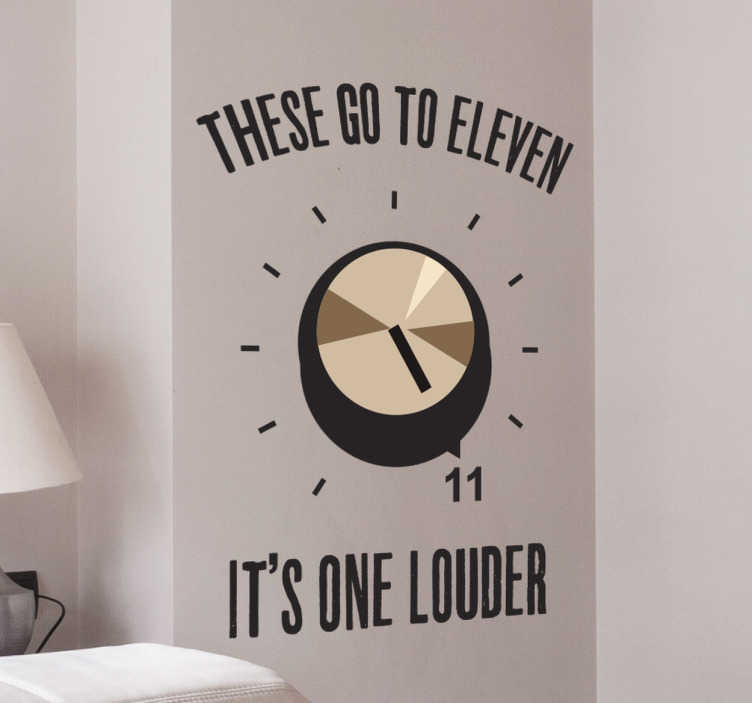 "TenStickers. Spinal Tap Eleven Wall Sticker. Funny wall sticker with a reference to the famous scene in Spinal Tap where they talk about how their speakers are louder than most because ""these go to 11"". This hilarious music wall sticker is the perfect homage to comedy, rock music and film."