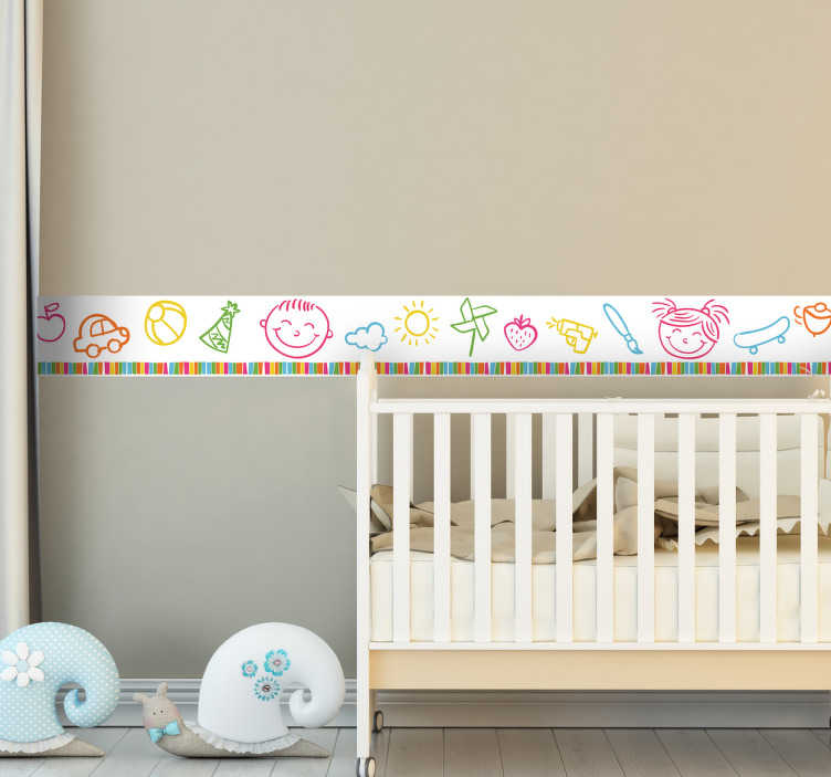 TenStickers. Sticker enfants frise dessins. Le sticker se compose de planches à roulettes, de voitures, de nuages, de pommes de couleurs différentes.