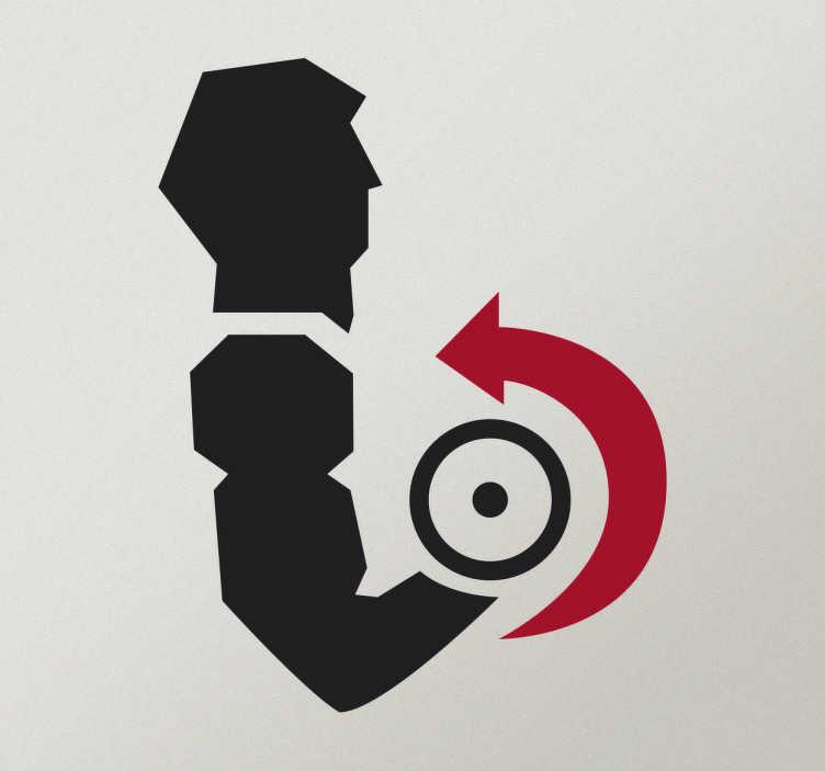 TenStickers. Naklejka ścienna kulturysta podnoszący ciężary. Naklejka ścienna prezentująca ćwiczącego kulturystę podnoszącego ciężary.