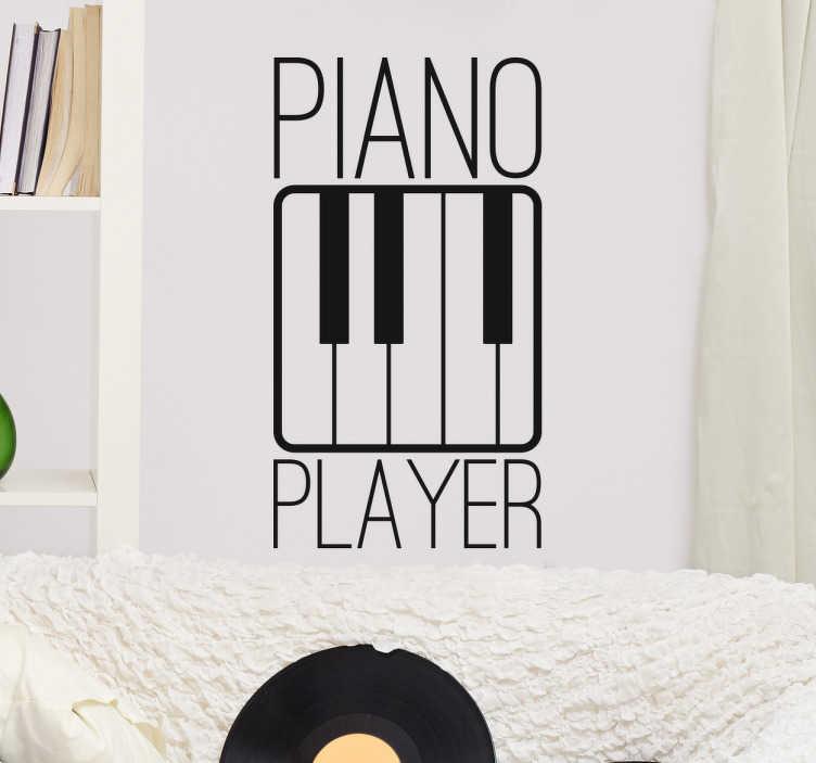 TenStickers. Autocolante piano player. Adesivos para os amantes da música, em especial para aquelas pessoas que gostam de ouvir música clássica ou onde o piano é predominante.