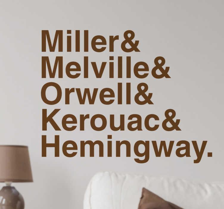 TenStickers. Sticker liste d'ecrivains. Sticker liste écrivains. Vous aimez la lecture? Décorez les murs de votre chambre, salon ou autre pièce de votre passion avec cet autocollant.