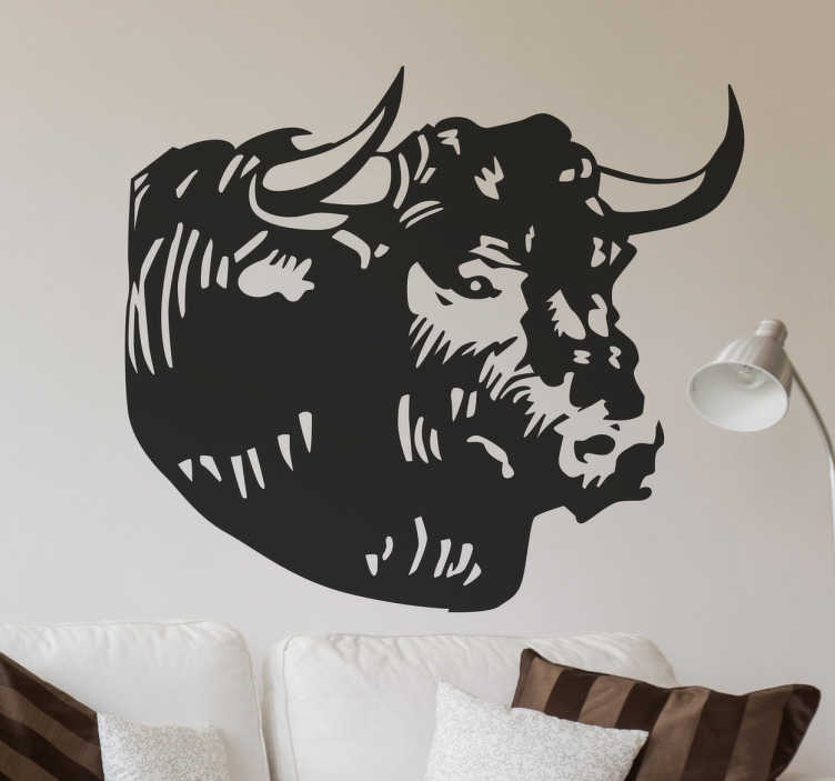 TenStickers. Wandtattoo Stier Kopf. Sind Sie ein Landwirt oder ein großer Fan von Kühen? Dann ist unser Wandtattoo Stier Kopf vielleicht genau die Dekoration die Sie gesucht haben!