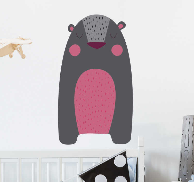 TenStickers. Grizzly Bear Wall Sticker. Wall Sticker of a grey bear with a pink belly and pink cheeks, a beautiful wall decoration for kids.