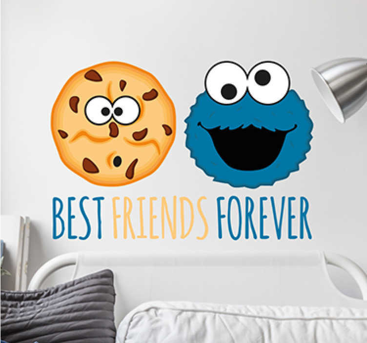TenStickers. Muursticker Cookie monster en koekje. Muursticker Cookie monster en koekje, een mooie wanddecoratie van een eeuwige vriendschap tussen deze kindervriend van Sesamstraat.