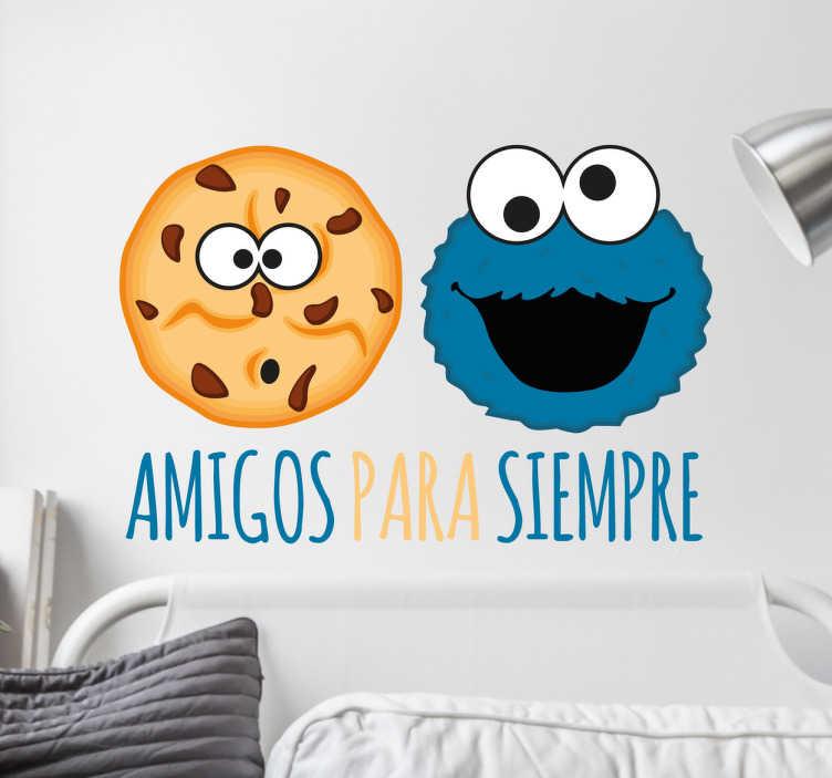 TenVinilo. Pegatina Triki Amigos para siempre. Pegatinas del Monstruo de la galletas para decorar con propiedad y alegría cualquier rincón liso de tu casa.