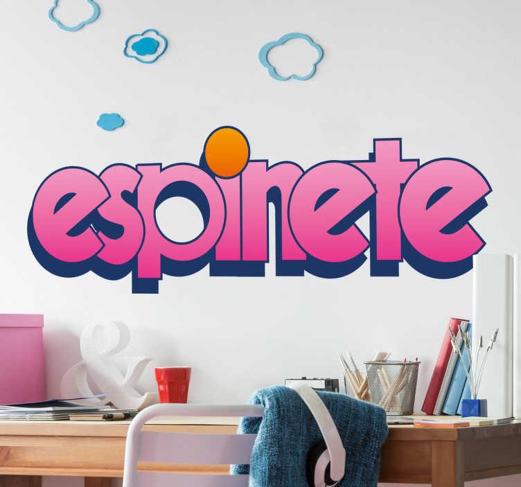 TenVinilo. Vinilo retro logo espinete. Vinilos frikis para nostálgicos de los programas infantiles de los años 80 en el que se recrea el nombre del famoso puerco espín de Barrio Sésamo.