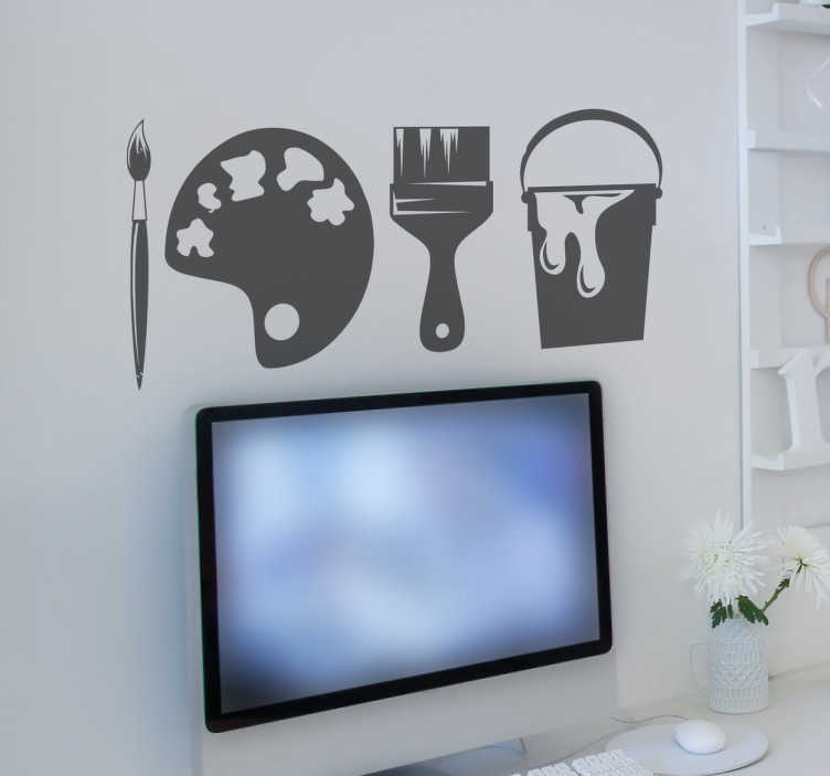 TenStickers. Painting Tools Wall Sticker. This fun wall sticker consists of a paint brush, paint pallet and paint bucket.