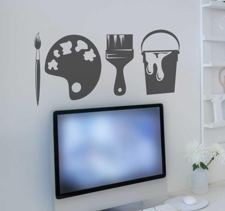 TenStickers. 绘画工具墙贴. 这个有趣的墙贴由油漆刷,油漆托盘和油漆桶组成。