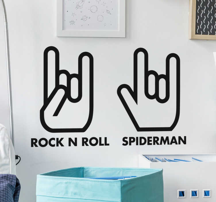 Rock N Roll and Spiderman Hand Sign Wall Stickers