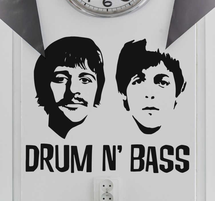 TenVinilo. Vinilo Beatles drum n bass. Vinilos decorativos con tus músicos favoritos de la mítica banda de pop y rock de los años 60 Ringo Starr y Paul McCartney.