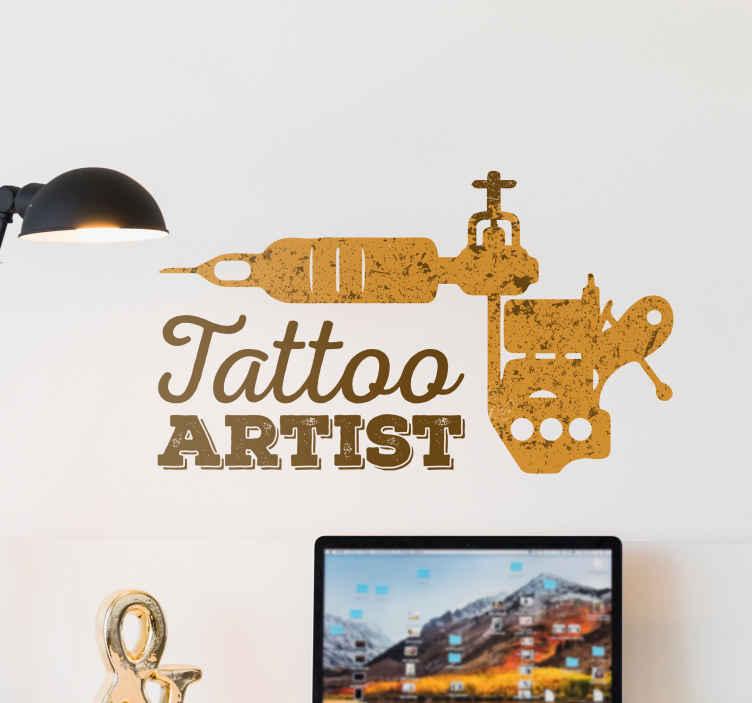 TenStickers. Naklejka ścienna Tatto Artist. Naklejka dekoracyjna przedstawiająca sprzęt do wykonywania tatuaży  z napisem w języku angielskim ' Tatoo Artist'.