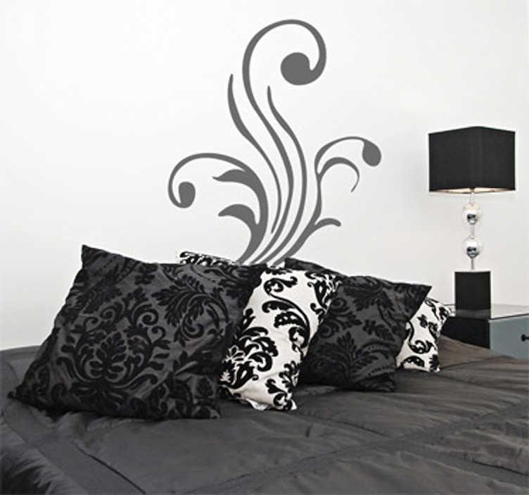 TenStickers. Sticker plant modern krullen. Een leuke muursticker van een moderne plant in licht gekrulde vormen. Een mooie decoratie voor het versieren van een woonkamer of slaapkamer.