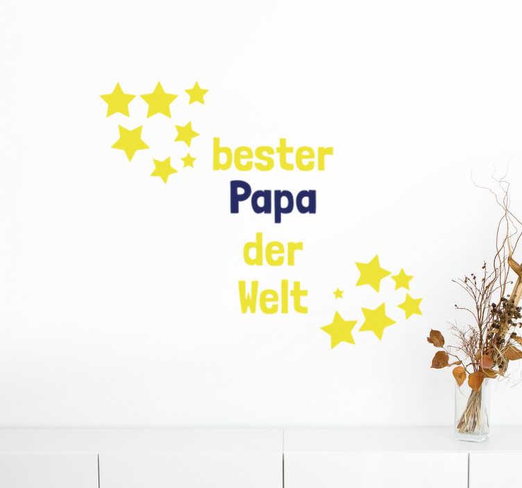 TenStickers. Wandtattoo Bester Papa Sterne. Ihr Vater ist der beste Papa der Welt? Dann schenken Sie ihm dieses Wandtattoo Bester Papa Sterne zum Vatertag!