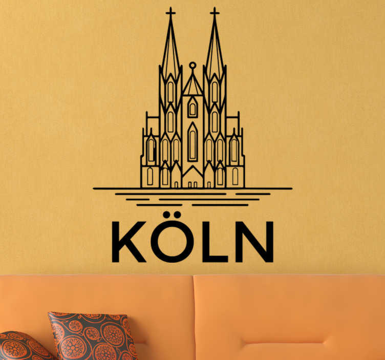 TenStickers. Wandtattoo Kölner Dom. Dieses großartige Wandtattoo mit der Silhouette des Kölner Doms könnte schon bald auch Ihre weiße Wand zum Hingucker machen!