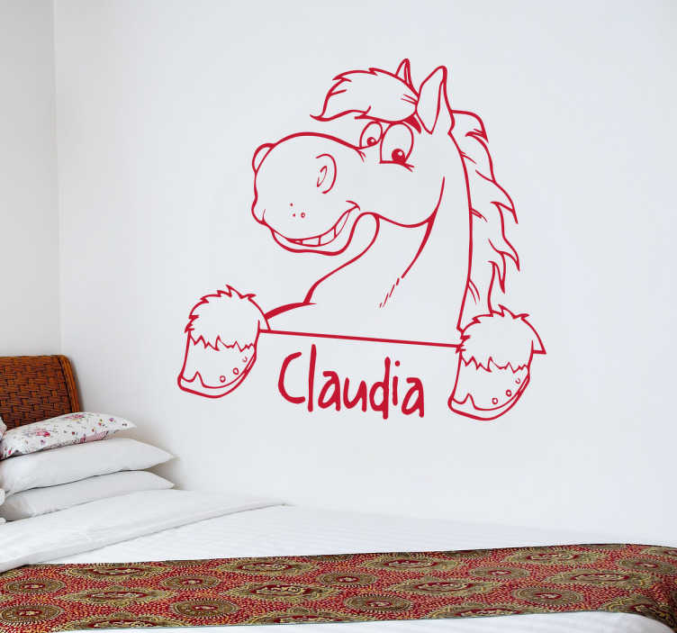 TenVinilo. Vinilo dibujo de caballo nombre. Vinilos personalizables para los más pequeños con el dibujo de un caballo y debajo el nombre que quieras.