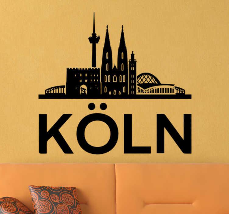 TenStickers. Wandsticker Skyline Köln. Dieses großartige Wandtattoo mit der Skyline von Köln, der schönen Stadt am Rhein, könnte schon bald auch Ihre weiße Wand zum Hingucker machen!