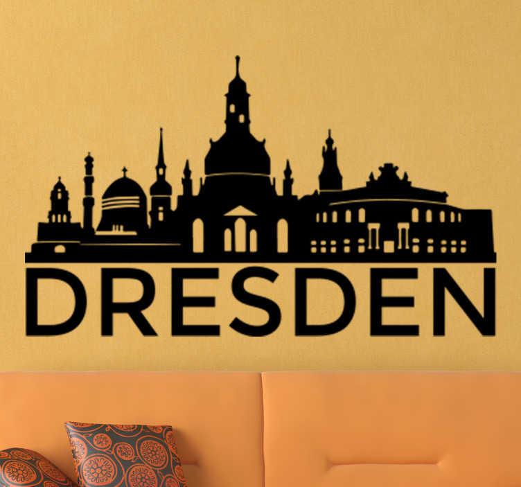 TenStickers. Naklejka na ścianę skyline Drezno. Naklejka na ścianę prezentująca sylwetkę niemieckiego miasta Drezno. Dostępna w różnych kolorach. Spersonalizuj swoją naklejkę!