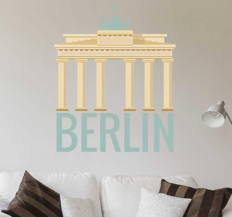 TenStickers. Sticker porte de Brandebourg. Vous avez visité Berlin et avez aimé la fameuse Porte de Brandebourg? Montrez-le avec ce sticker de cette porte et de la phrase Berlin.