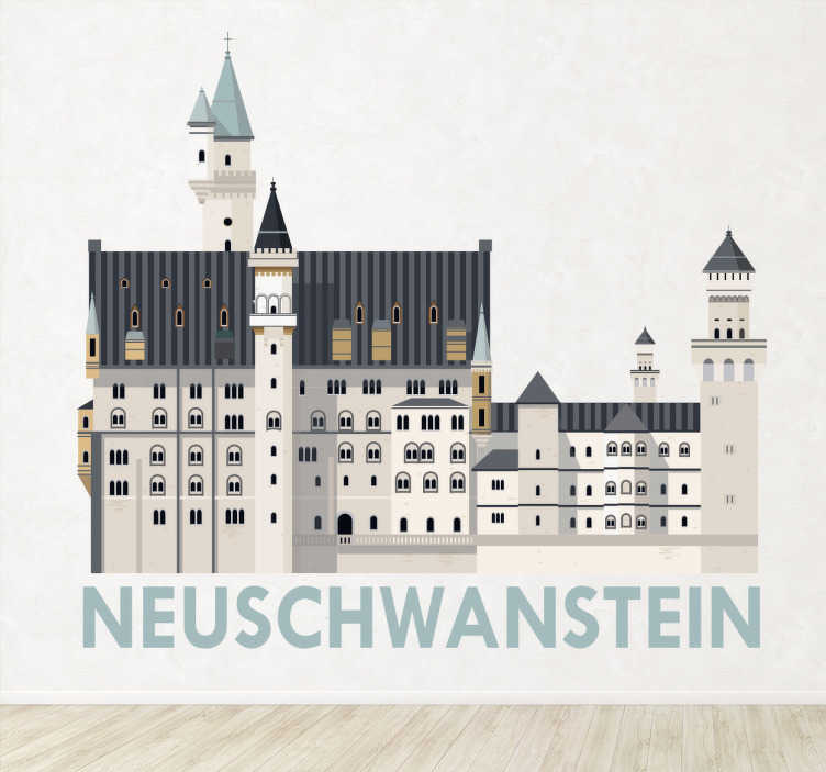 TenStickers. Wandtattoo Schloss Neuschwanstein. Dieses Wandtattoo Schloss Neuschwanstein zeigt die Verbundenheit mit Ihrer Heimat und eignet sich hervorragend zur Dekoration in Ihrem zu Hause!