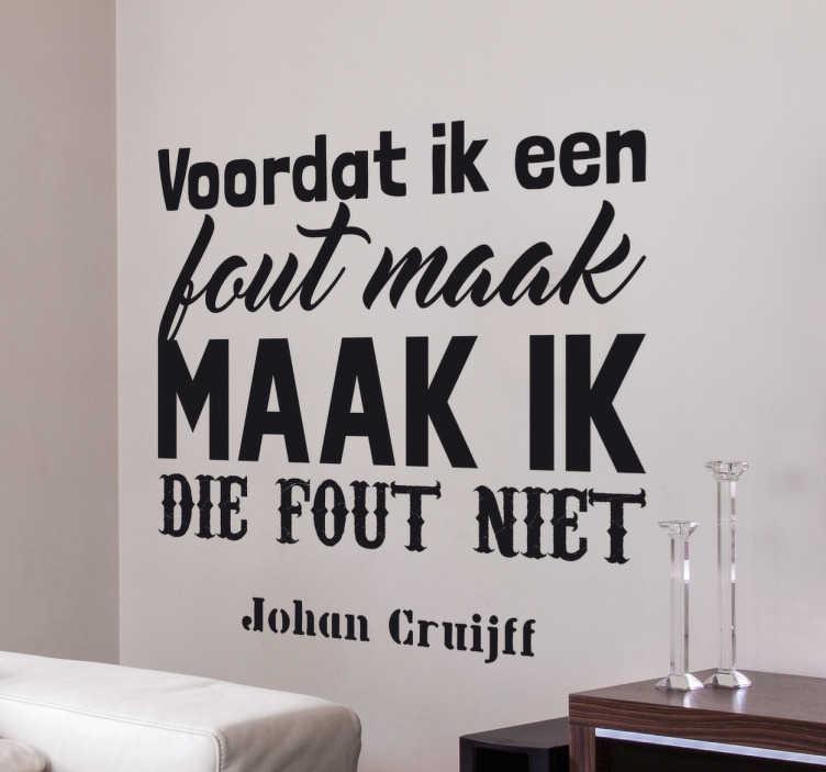 Citaten Johan Cruijff : Muursticker citaat johan cruijff tenstickers