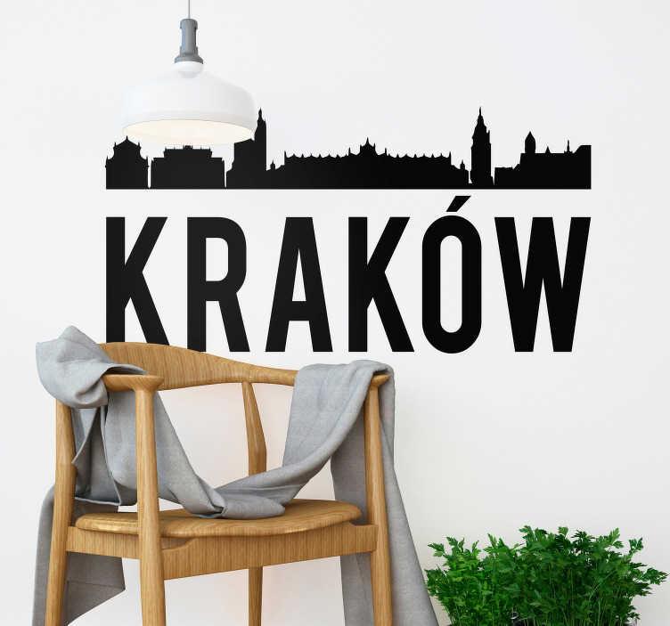 TenStickers. Dekoracja ścienna Kraków. Naklejka dekoracyjna prezentująca sylwetkę Krakowa.