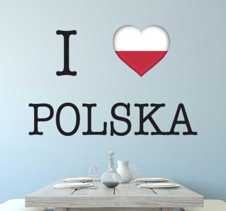 Naklejka ścienna I love Polska