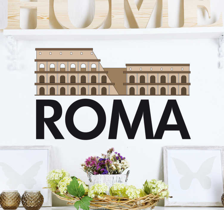 TenStickers. Naklejka Koloseum ROMA. Naklejka na ścianę prezentująca koloseum i napis ' ROMA'.