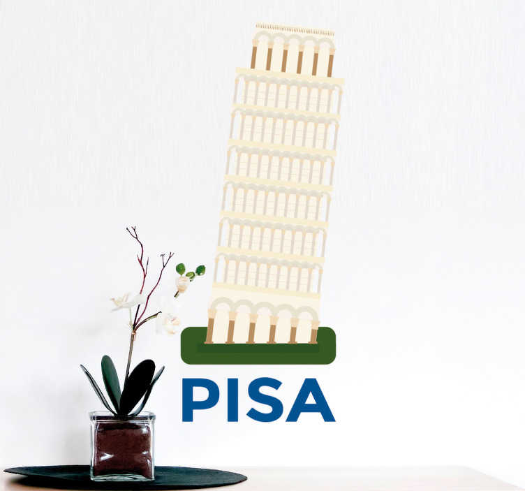 TenStickers. The leaning tower of Pisa Wall Sticker. The sticker consists of the leaning tower of Pisa, with Pisa written in bold font under the tower.