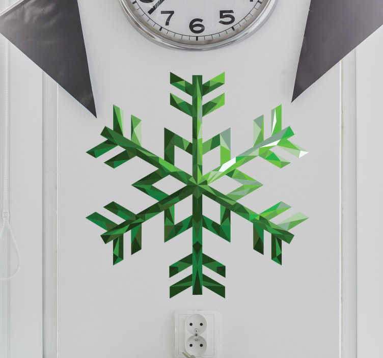 TenStickers. Muursticker smaragden sneeuwvlok. Muursticker smaragden sneeuwvlok, een mooie en kleurrijke wanddecoratie voor op de muur tijdens de feestdagen.