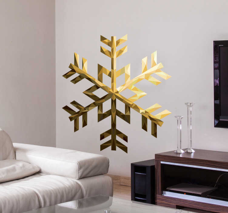 TenStickers. Wandsticker Schneeflocke Gold. Wandsticker Schneeflocke Gold – Sie sind auf der Suche nach einer tollen Winterdekoration? Dann ist diese goldene Schneeflocke das Richtige für Sie!