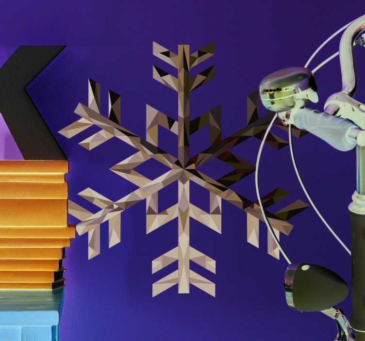 TenVinilo. Vinilo Copo de nieve plata. Vinilos decorativos de copos de nieve que recrean geométricamente su composición microscópica y simulan un acabado material en plata.