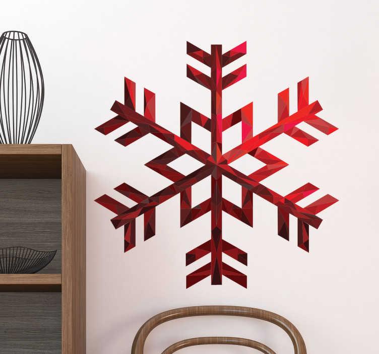 TenVinilo. Vinilo Copo de nieve rubí. Vinilos murales originales con el dibujo de un copo de nieve en acabado rubí para amantes y apasionados de los deportes invernales.