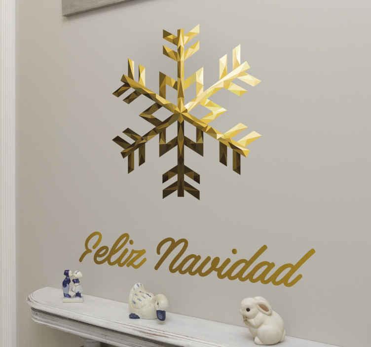 TenVinilo. Vinilo copo de nieve feliz navidad texto. Vinilos decorativos de navidad con la recreación geométrica de un copo de nieve para decorar las paredes durante las próximas fiestas invernales.