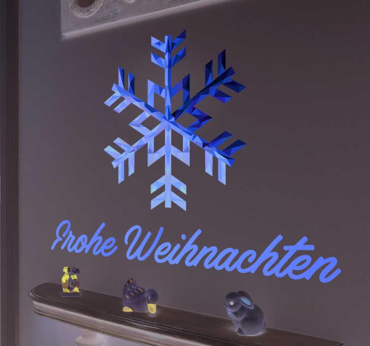 TenStickers. Wandsticker Frohe Weihnachten Schneeflocke. Wandsticker Frohe Weihnachten Schneeflocke – Dekorieren Sie Ihr zu Hause an Weihnachten doch mit dieser goldenen Schneeflocke!