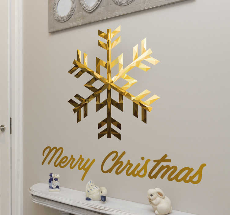 TenStickers. Wandsticker Merry Christmas Schneeflocke. Wandsticker Merry Christmas Schneeflocke – Dekorieren Sie Ihr zu Hause an Weihnachten doch mit dieser goldenen Schneeflocke!