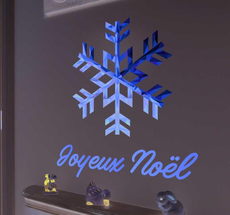"TenStickers. 茹瓦约诺埃尔·诺尔(雪花)黄金圣诞墙贴. 金色的雪花墙贴,上面写着""圣诞快乐"",用法语写在雪花下方!节日期间的美丽圣诞贴纸"