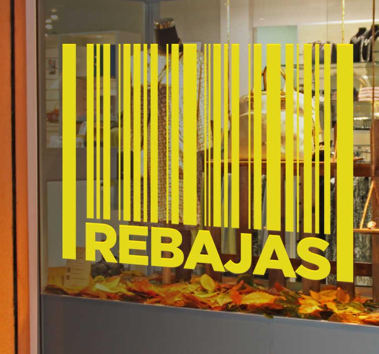 TenVinilo. Vinilos rebajas código de barras. Decora el escaparate de tu negocio con vinilos de rebajas de diseño original, disponibles en más de cincuenta colores distintos.