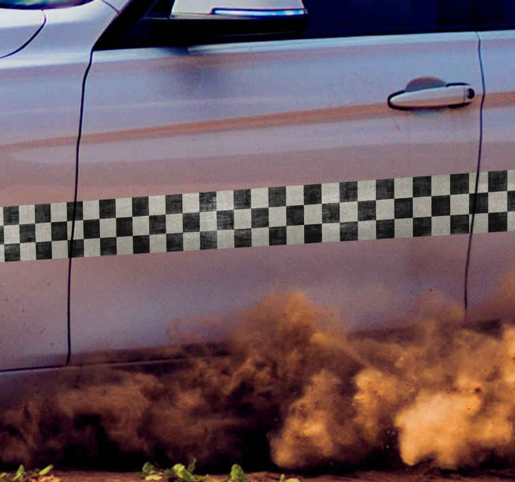 TenStickers. Muursticker voertuigen race streep. Muursticker voertuigen race streep, een mooie sticker met zwarte en witte vierkantjes voor het decoreren van voertuigen of muren.