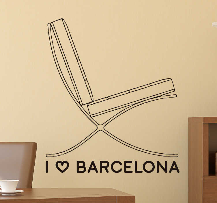 TenStickers. Barcelona Chair Wall Sticker. Wall Sticker of the Barcelona chair, ​​a beautiful artistic wall decoration for all fans of the city of Barcelona.