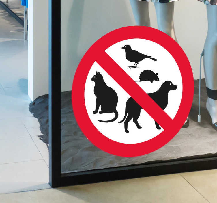 TenStickers. No Entry Pet Sign Sticker. No pets allowed sticker. This sticker can be placed in shop windows, home window, or at the door.